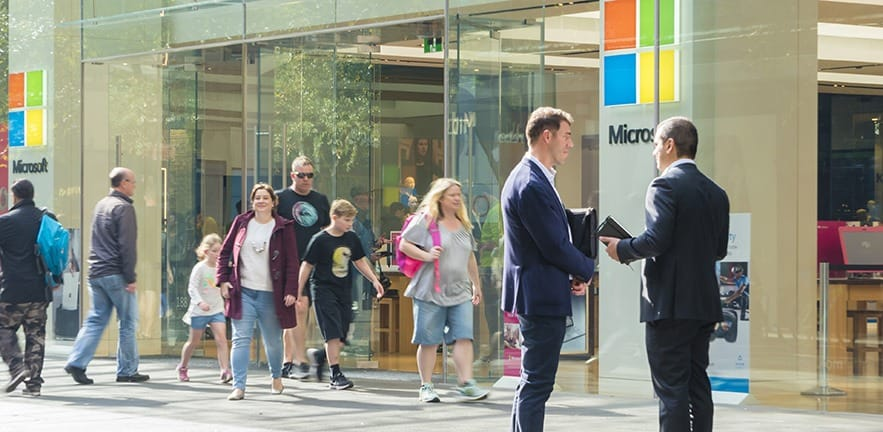 Sydney, Australia - May 12, 2017: View of people visiting the Microsoft flagship store in Sydney. It is a retail store run y Microsoft, selling computers, software and electronic products.