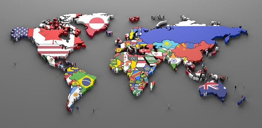 world countries flags map symbols -3d render