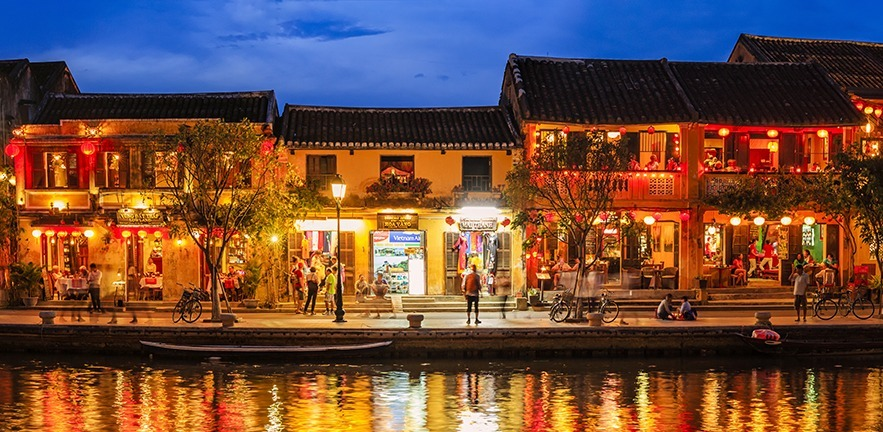 Evening view of Old Town in Hoi An city, Vietnam. Hoi An is situated on the east coast of Vietnam. Its old town is a UNESCO World Heritage Site because of its historical buildings.