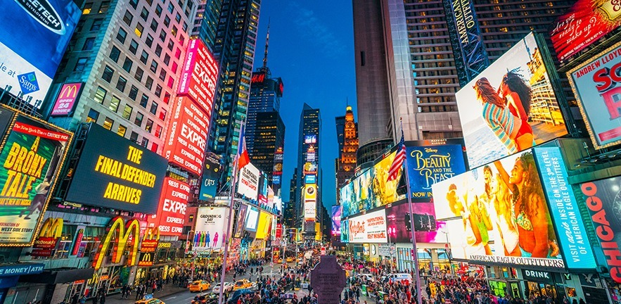 Times Square with global brands on billboards