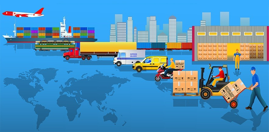 Global logistics network. Flat vector illustration. Air cargo trucking, rail transportation, maritime shipping, warehouse, freight, free delivery, delivery man, container ship, city skyline. On-time delivery. Vehicles designed to carry large numbers cargo.
