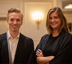 Ruth Nicholls and Oliver Adkins, co-founders of Chuchill Gowns.