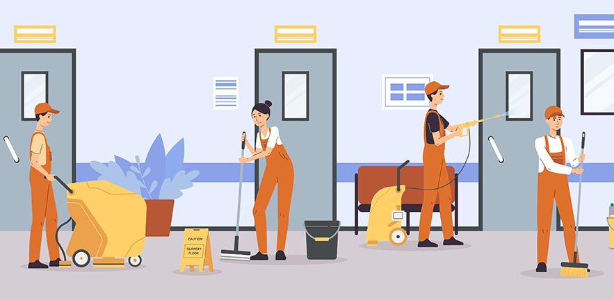 Cleaner service team cleaning floors and walls in office or hospital corridor - cartoon people in uniform using equipment to clean up in business building.