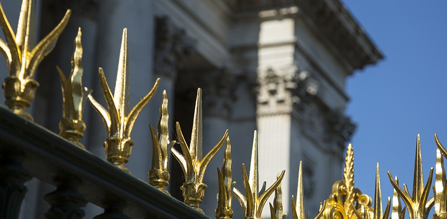 The gold-tipped gates of Fitzwilliam Museum, Cambridge.