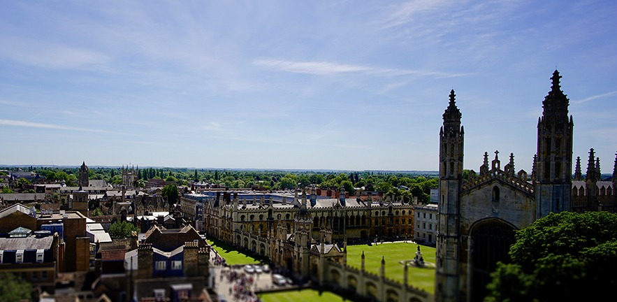 Horizon view of the city of Cambridge.