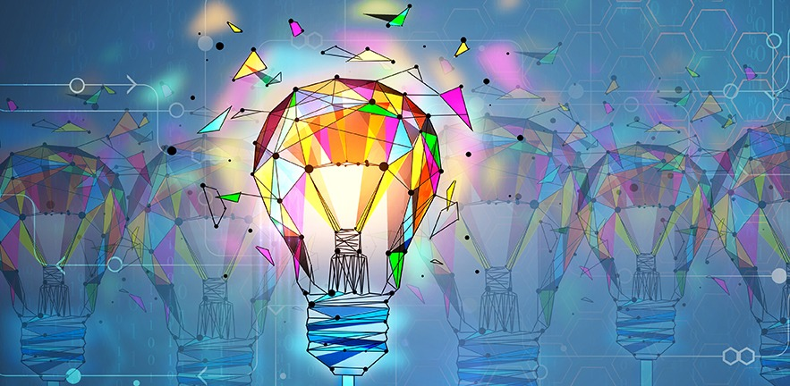 Illustration of a colorful polygonal lightbulb.