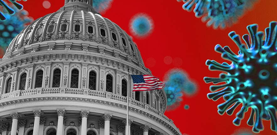 A composite image of the US flag flying in front of the Capitol building, a giant coronavirus approaching over a red background.