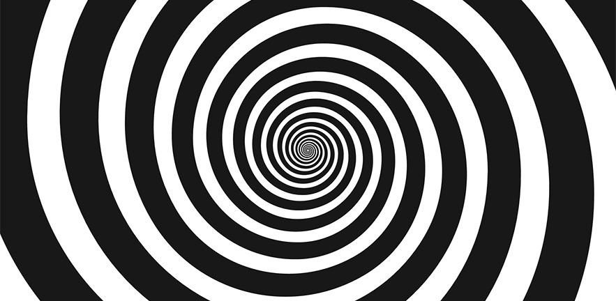 Black and white hypnotic spiral.