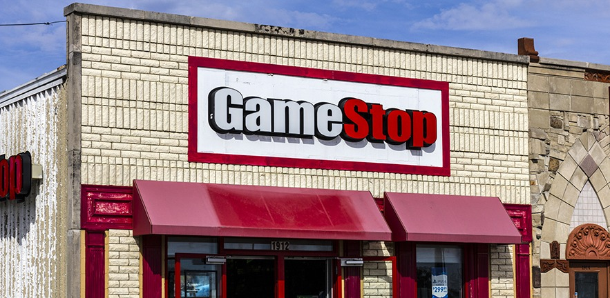 The rather tatty frontage of a GameStop shop in Kokomo, Indiana.