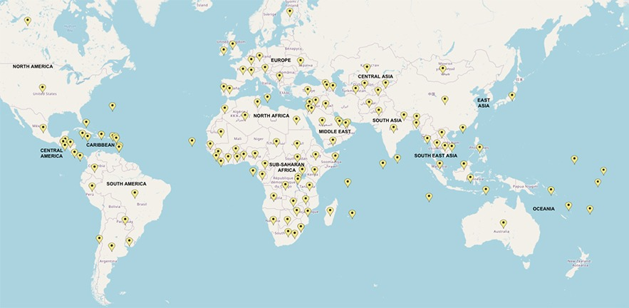 World map showing the global distribution of participants on the first six cohorts of the programme. The map shows that there were participants from or headquartered in over 135 countries across six continents.