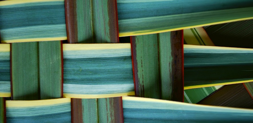 Woven green, brown and yellow grass background.