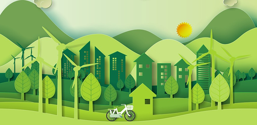 In the style of paper cut art, a panorama of trees, wind turbines, houses and hills, with a bicycle in the foreground.