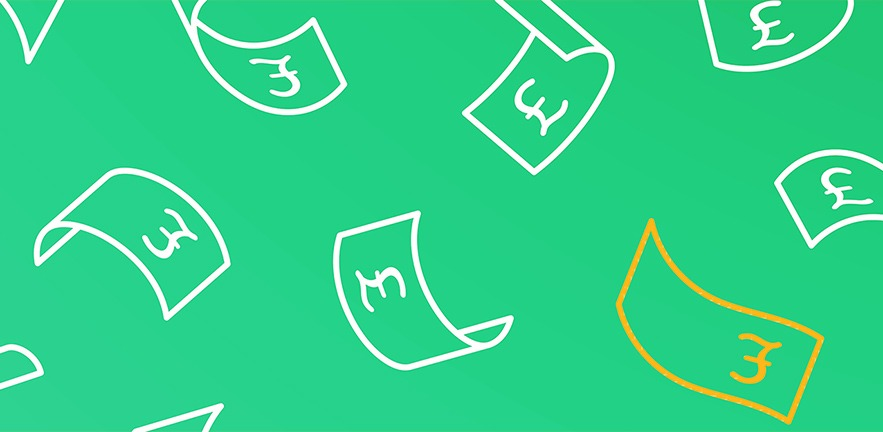 Digital image of bank notes with pound signs on on an green background.