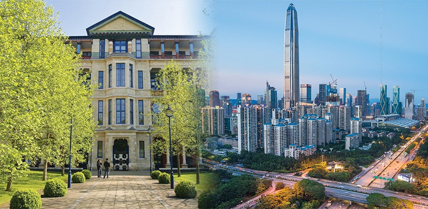 A composite image of Cambridge Judge Business School, and the skyscrapers of Shenzhen in China.
