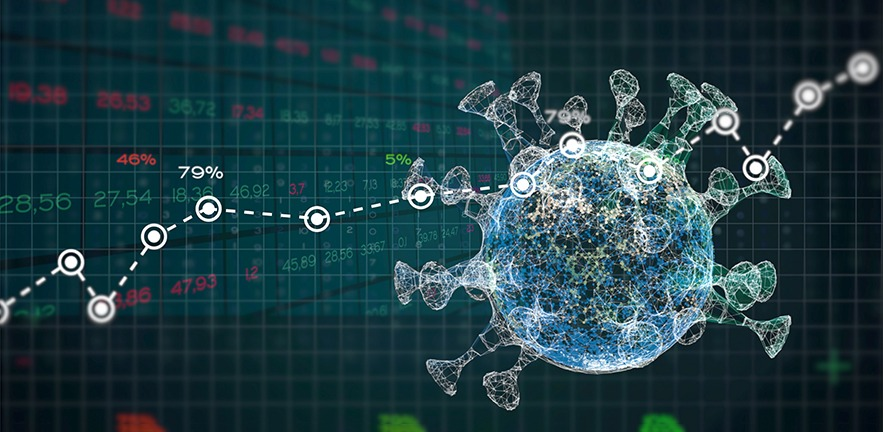 Statistics of financial market data about a epidemic disease. Analysis graphs and reports numbers about a pandemic virus crisis.